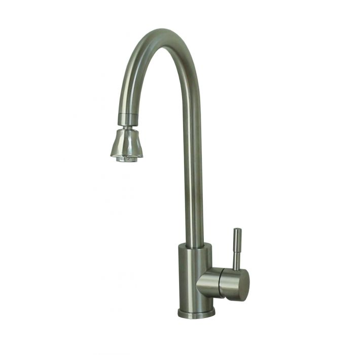 RV Kitchen Faucet, Metal Single Lever Gooseneck Spout with optional  Insta-Spray Aerator & Deckplate, Brushed Nickel