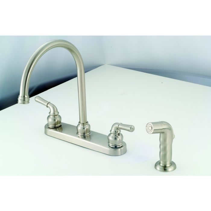 Brushed Nickel RV/Mobile Home 2 handle metal faucet with gooseneck on mobile home kitchen repair, mobile home shower bases, mobile home faucet replacement, mobile home fittings, mobile home kitchen pipes, mobile home drains, mobile home mirrors, mobile home kitchen paint colors, mobile home lamps, mobile home kitchen islands, mobile home kitchen cabinets, mobile home garden faucets, mobile home locks, mobile home kitchen bath, mobile home kitchen furniture, mobile home kitchen design, mobile home lavatory faucets, mobile home water softeners, mobile home kitchen appliances, mobile home kitchen sinks,