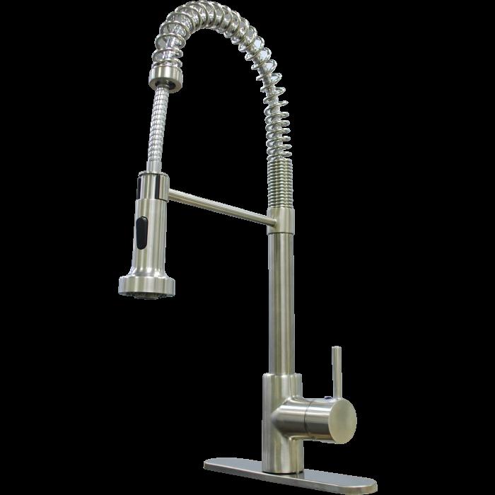 RV Metal Spring Pulldown faucet with sprayer, Brushed Nickel