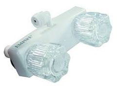 "4"" Empire RV Shower Valve, 90 Degree Elbow Vaccum Breaker, Crystal Jewelite Handles, White"